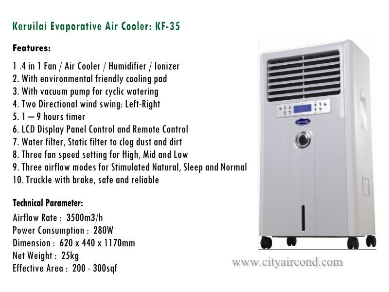 Keruilai Evaporative Air Cooler: KF-35