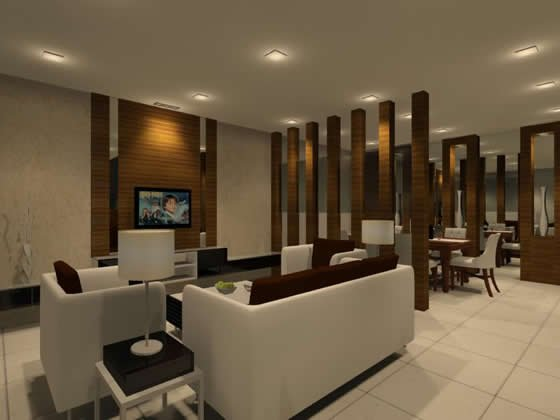 Living hall interior design residential living and for Hall to dining designs