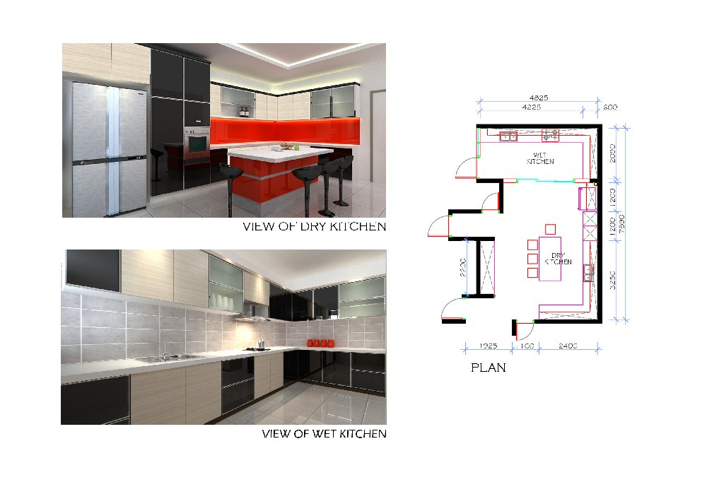 Wet Kitchen . Dry kitchen . Island Counter . Interior Design .
