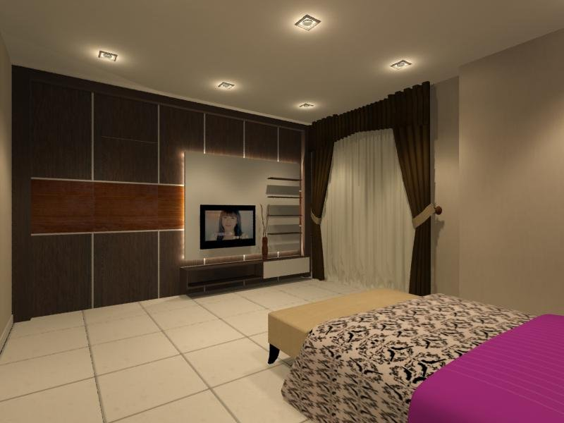 MASTER BEDROOM PARTITION WITH TV CONSOLE Interior Design