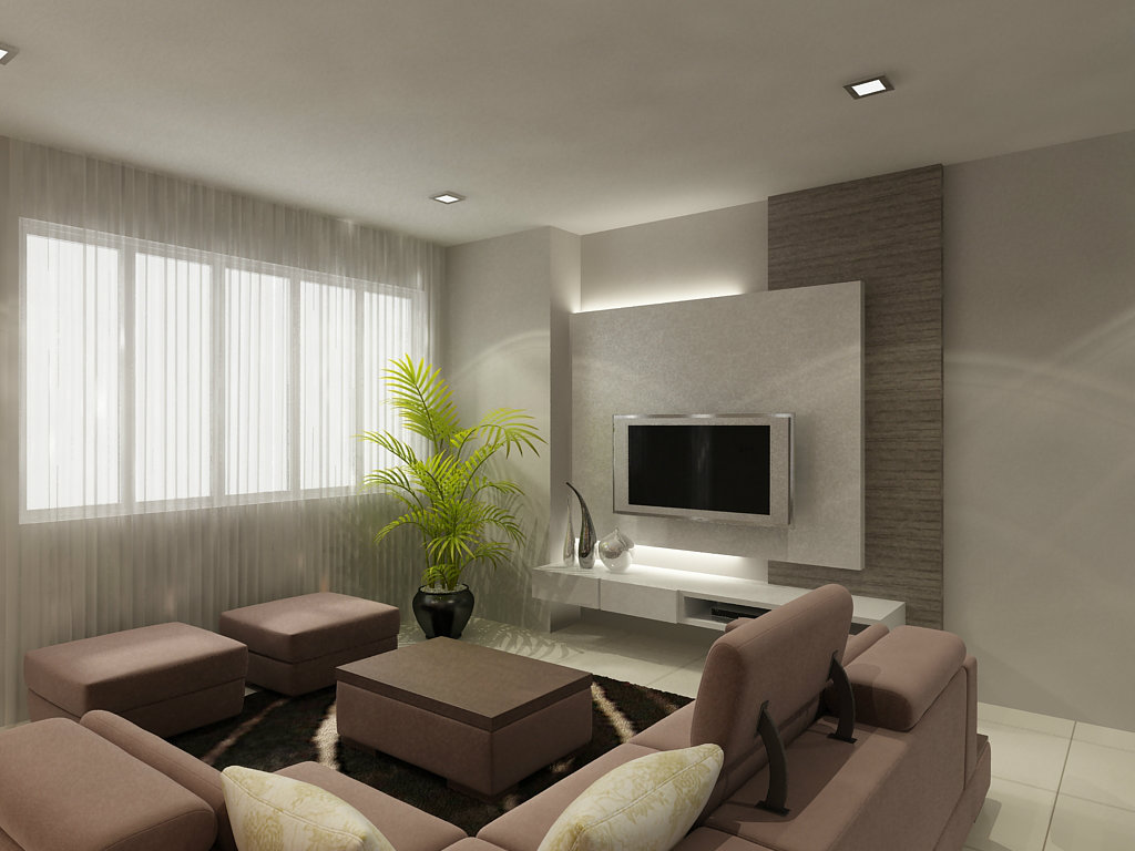 Living room design skudai semi detached house johor bahru for Modern living room malaysia