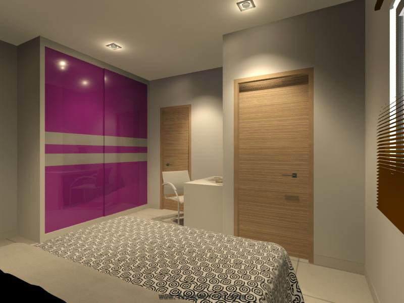Wardrobe And Study Table Interior Design Residential