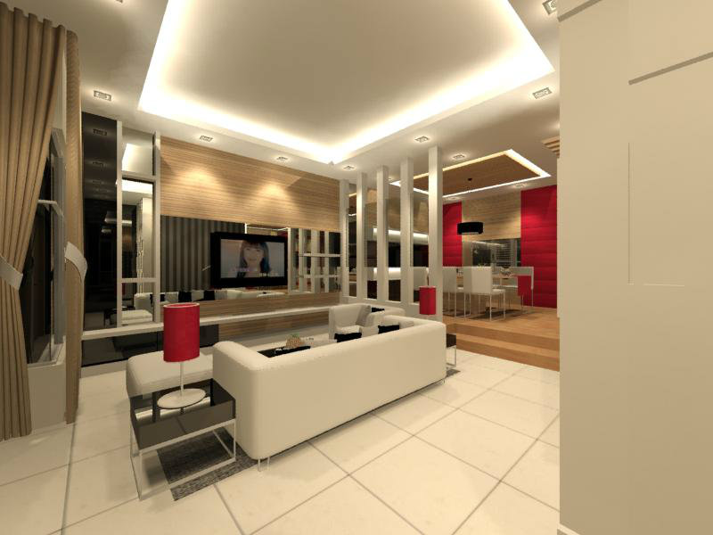 Living hall interior design residential living and for Living room design johor bahru