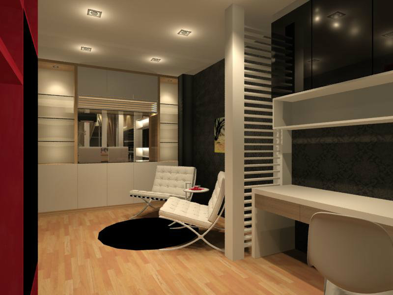 Study room interior design residential cabinet johor for Study room wall cabinets