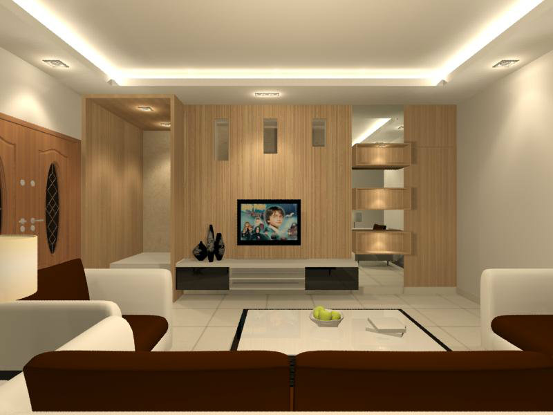 Living hall interior design residential living and for Dining hall wall design