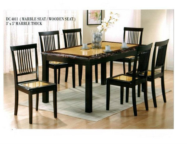 Dc 4011 3x5 1 6 marble thick dining set johor bahru jb for Chinese furniture johor bahru