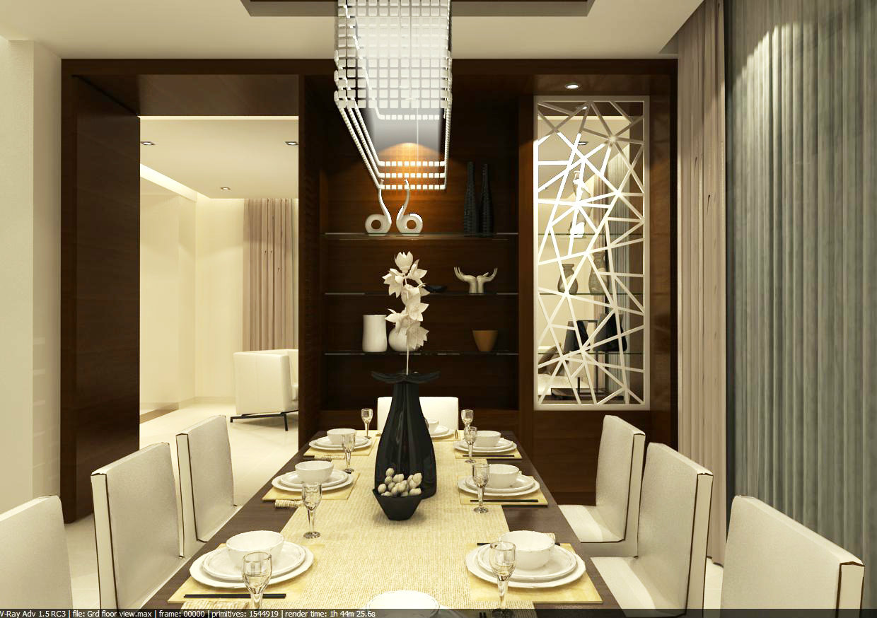 02 dining interior design dining hall johor bahru jb for Interior design for hall and dining room