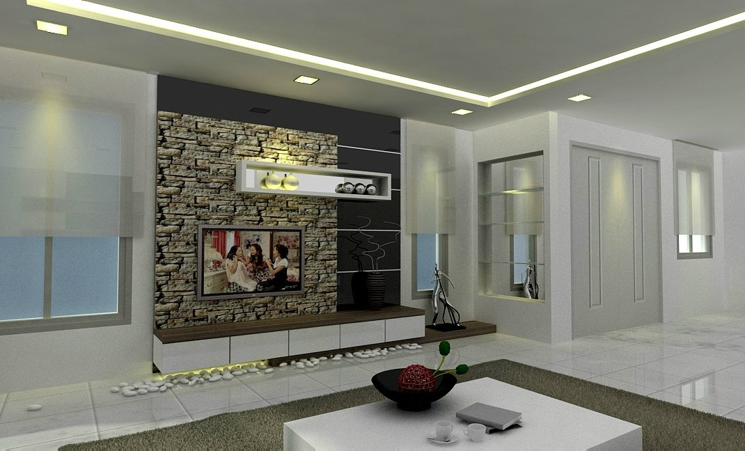 Bestari Height . TV cabinet . living hall . interior design work