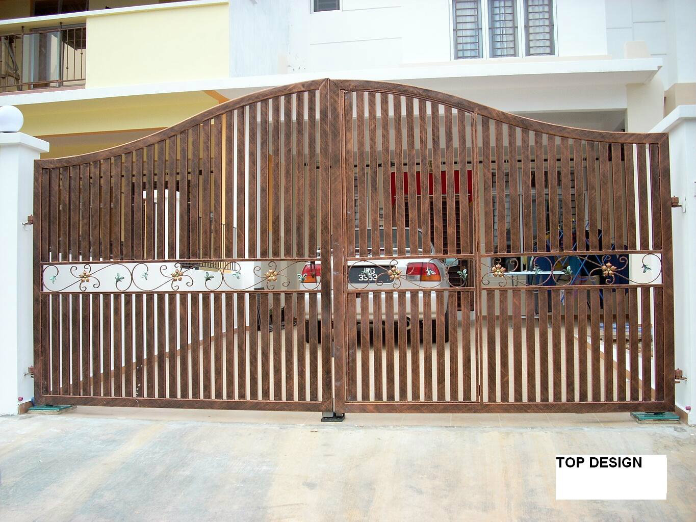 Gate designs bungalow main gate designs for Wooden main gate design