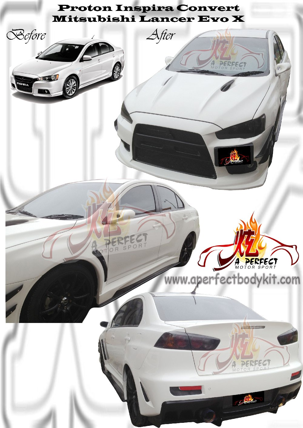 Proton Inspira Convert Mitsubishi Lancer Evo X Custom Body