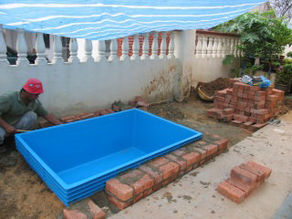 Blue tank embedded koi pond design and build johor bahru for Koi pond johor bahru