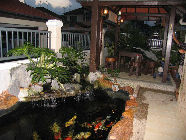 Pond with natural stone surrounding