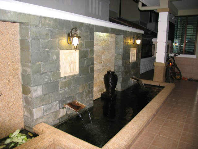 Pond with wall tiles