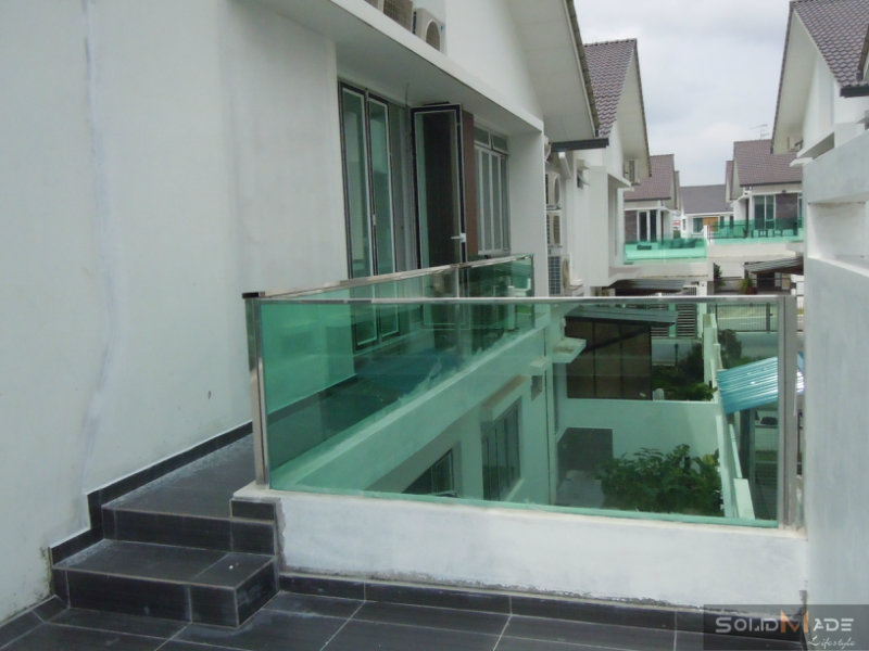 Balcony Tempered Fence Glass Panel With Stainless Steel Stan