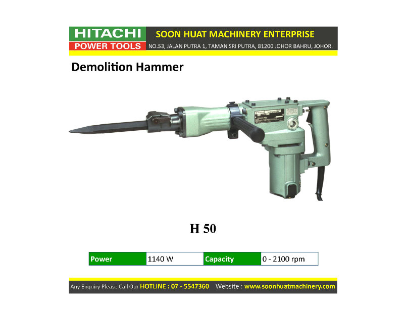 H50 ★ Hitachi Demolition Hammer Johor Bahru Jb Malaysia