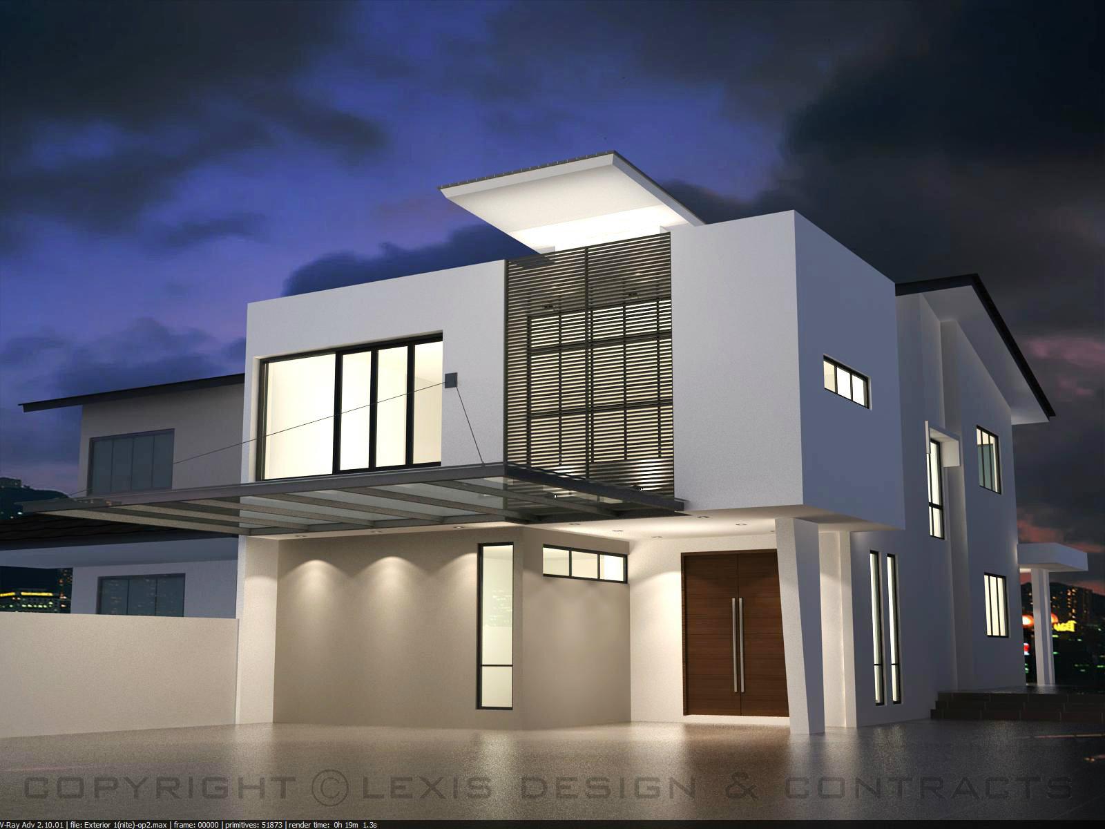 Exterior night view exterior design taman pelangi johor for Design hotel pandan indah