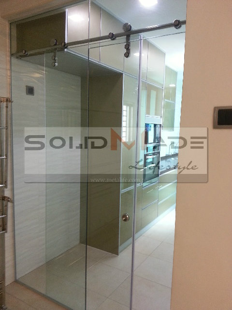 Tempered Glass Sliding Door & Track