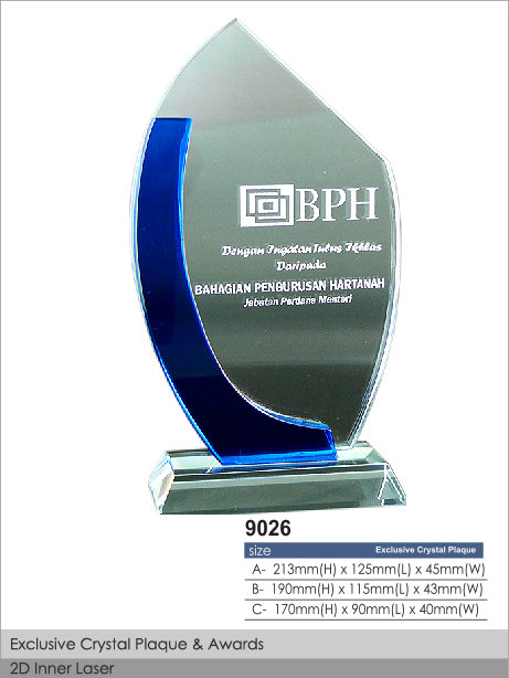CT-9026 Crystal Plaque / Awards
