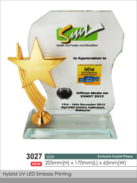 CT-3027 Crystal Plaque / Awards