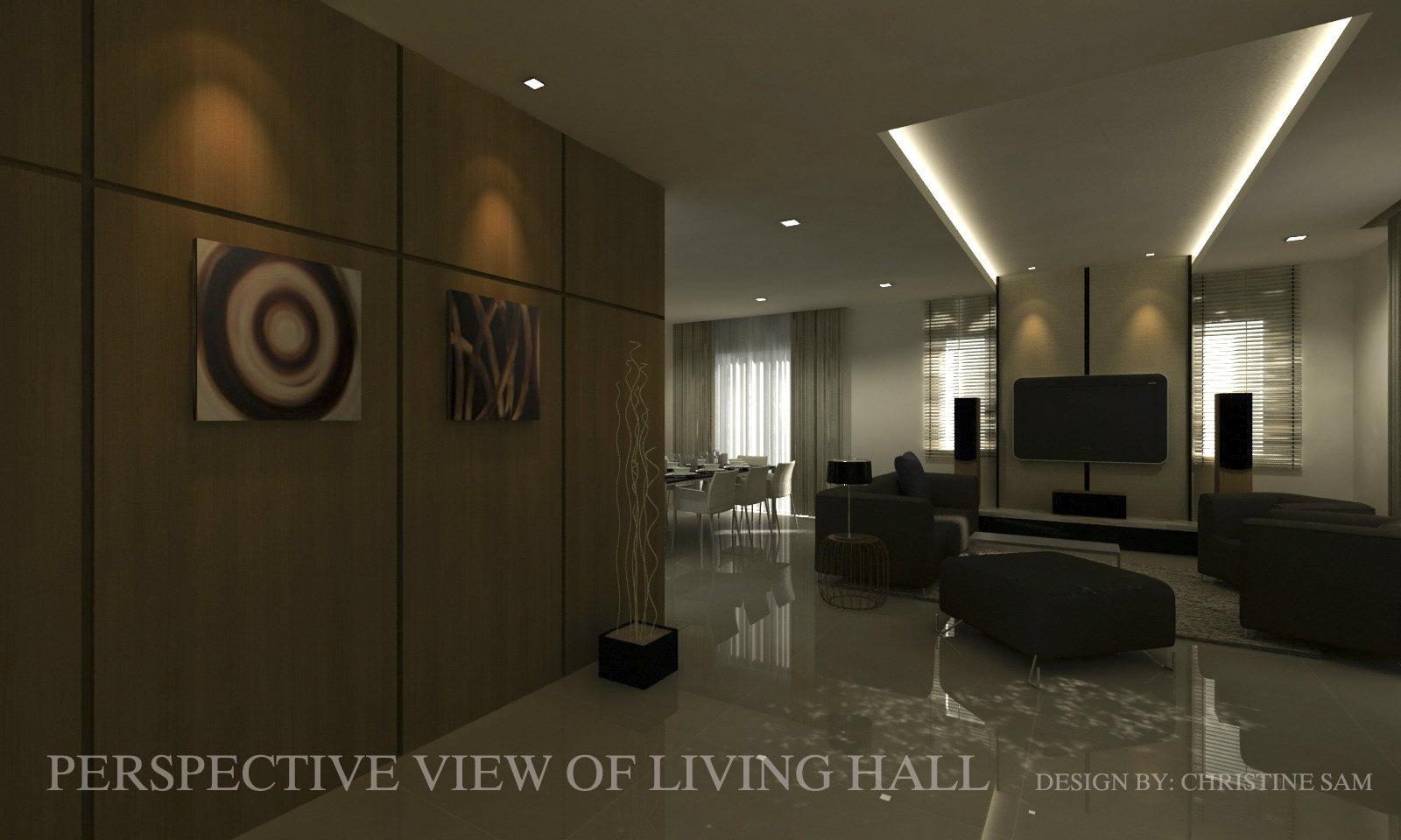 01 living hall residential design double storey tmn for Design hotel pandan indah