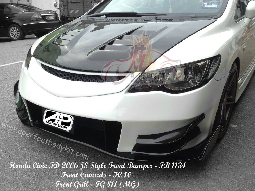 Honda Civic FD 2006 JS Style Front Bumper, Front Grill & Front Canards Honda Civic FD 2006 and ...