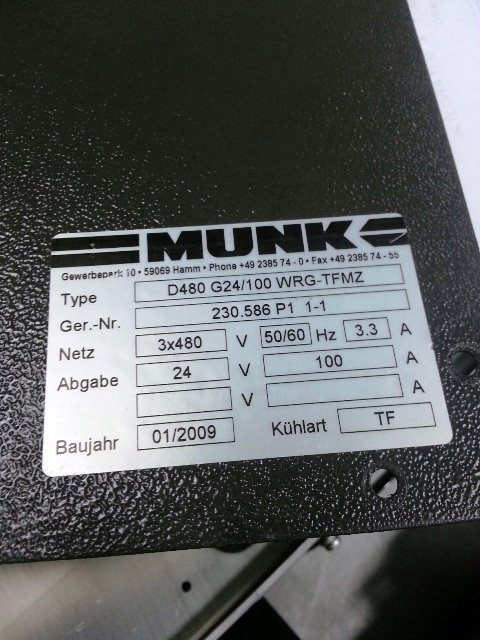 REPAIR MUNK RECTIFIER D480 G24/1000 WRG-TFE 24V 100A SINGAPORE INDONESIA MALAYSIA