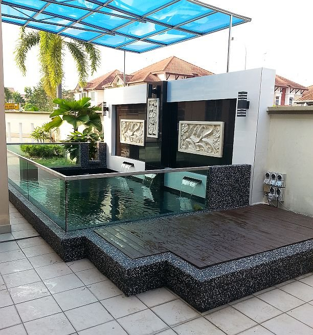 Pond with plastic timber filter cover koi pond design and for Koi fish pond design in malaysia
