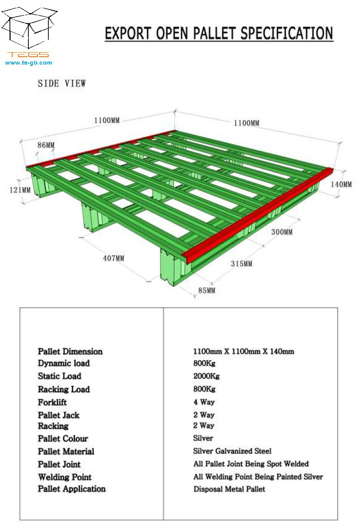 Galvanized Steel Pallet Size 1100mmX1100mm