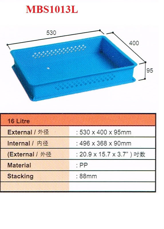 Plastic Container Size : 530x400x95mmH