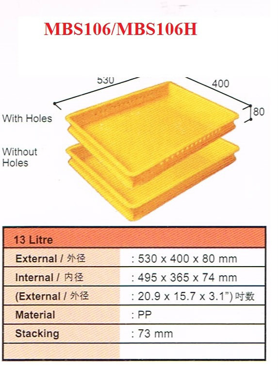Plastic Container Size: 530x400x80mmH