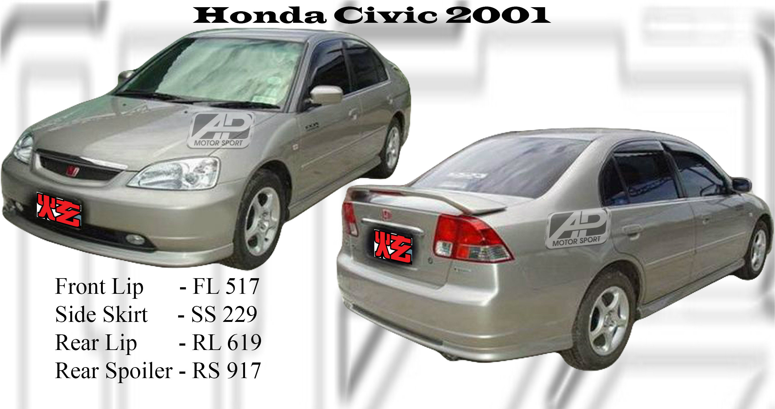 Honda Civic 2001-2004 Oem Bodykits