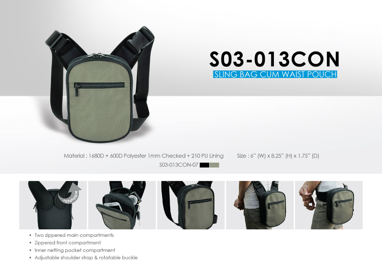 2 Way Waist Pouch + Sling Bag S03-013CON