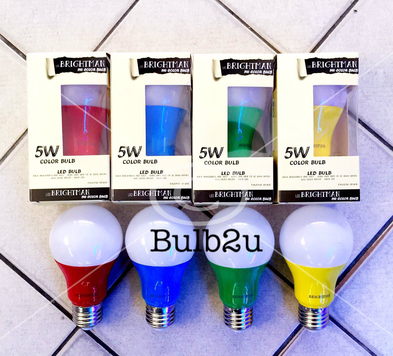 A60 LED 5W E27 COLOR BULB RED YELLOW BLUE GREEN