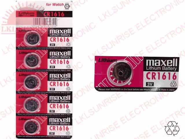 MAXELL LITHIUM COIN CELL BATTERY CR1616