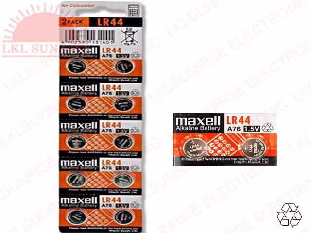 MAXELL ALKALINE BUTTON BATTERY LR44
