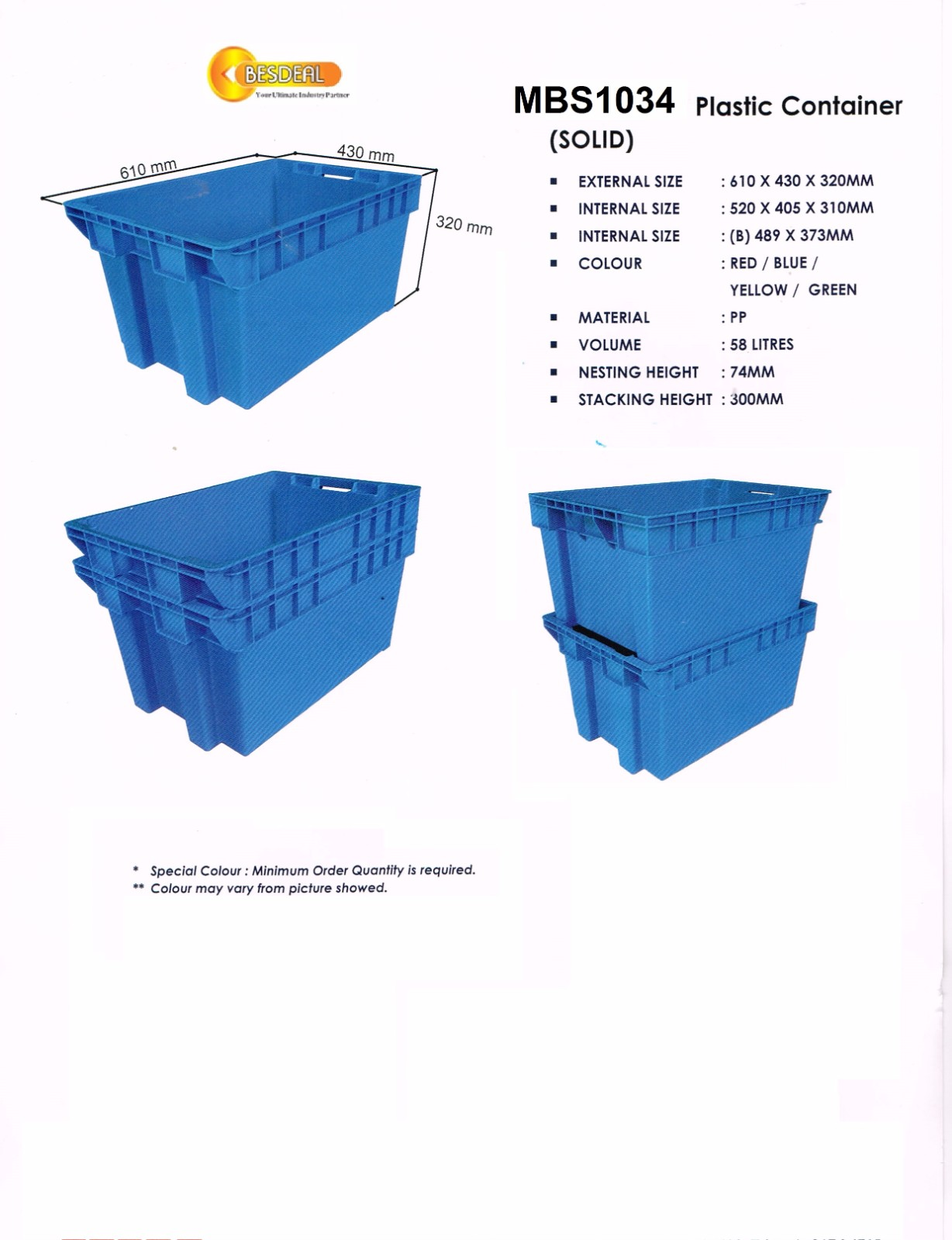 Plastic Container Mdl MBS1034