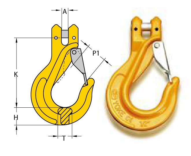 "G80 CLEVIS SLING HOOK, WITH LATCH, CODE ""YM"""