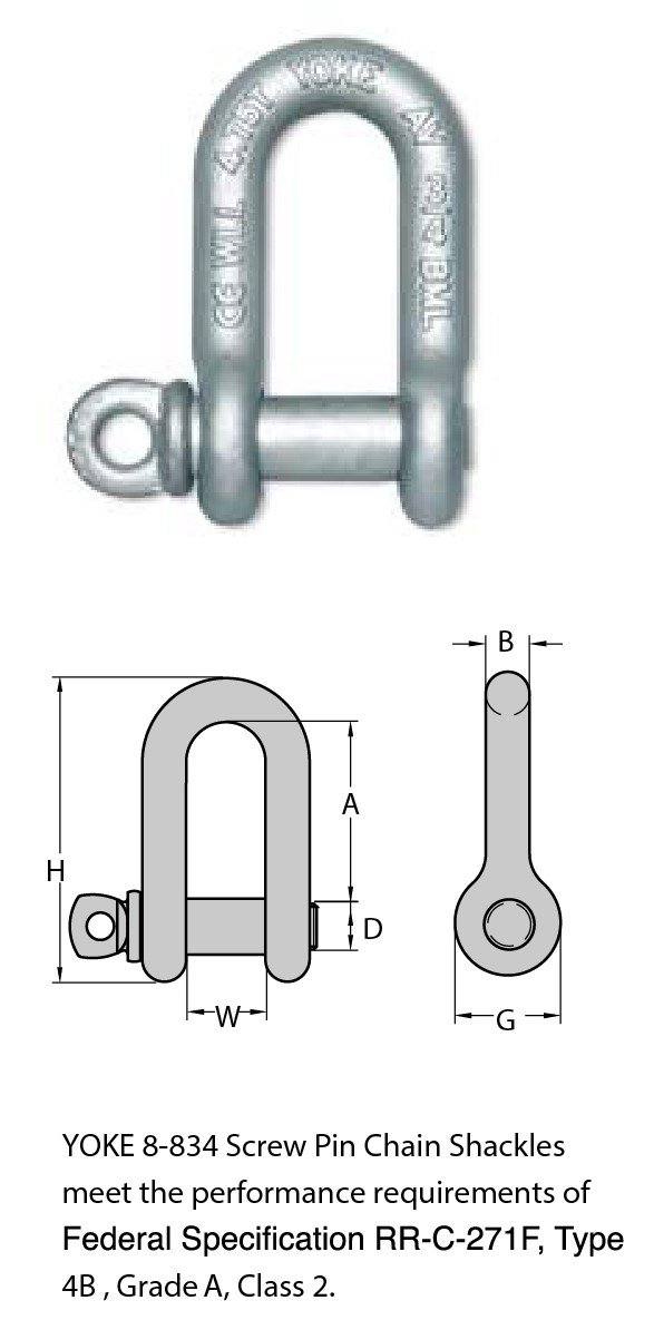 FORGED CARBON STEEL CHAIN SHACKLE WITH SCREW PIN