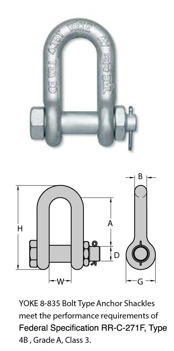 FORGED CARBON STEEL CHAIN SHACKLE WITH BOLT PIN