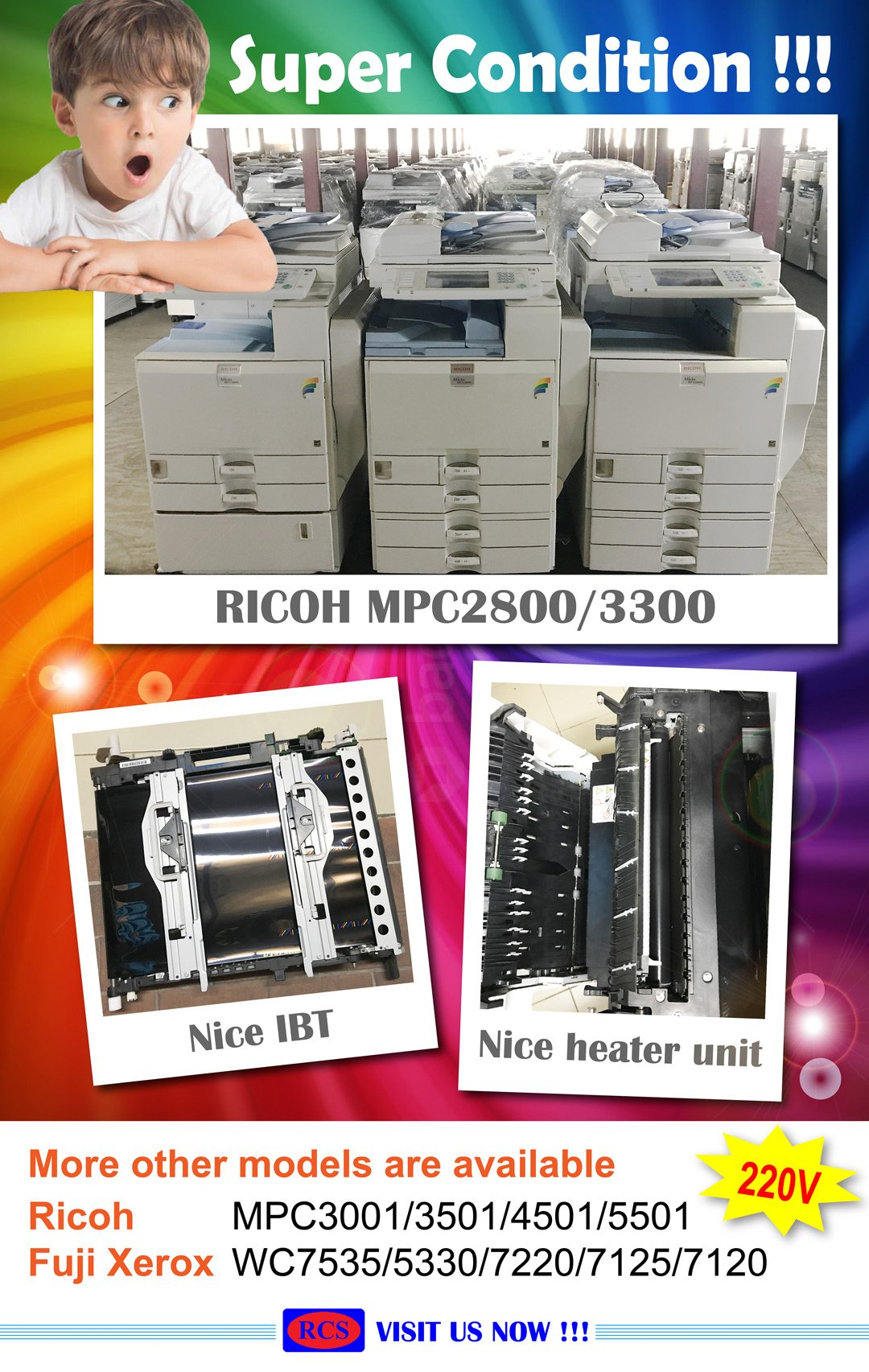RICOH MPC2800/3300 NOW IN STOCK! FUJI XEROX/CANON/MINOLTA 220V RECONDITIONED COPIER WHOLESALE