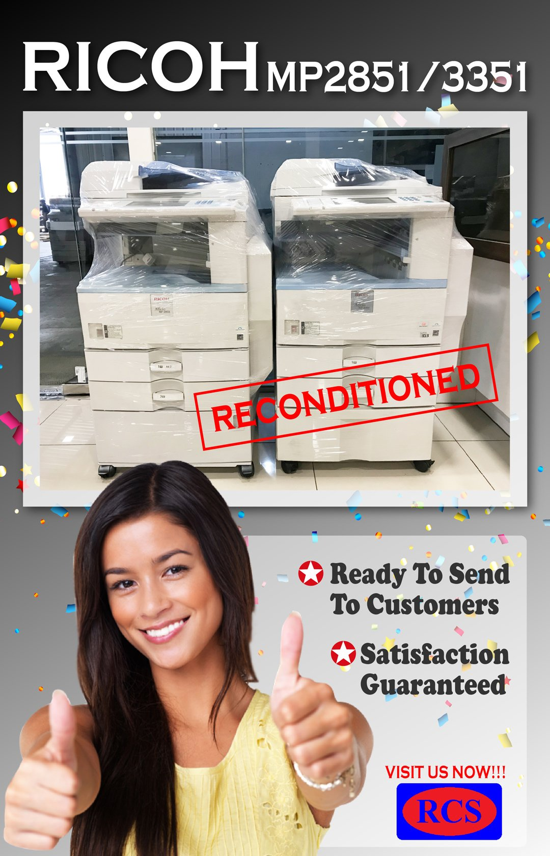 RICOH MP2851/3351 SATISFACTION GUARANTEED!! FUJI XEROX/CANON/MINOLTA RECONDITIONED COPIER WHOLESALE