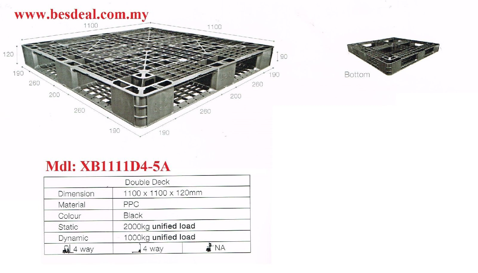 Plastic Pallet Mdl:XB1111D4-5A On Sales Now!