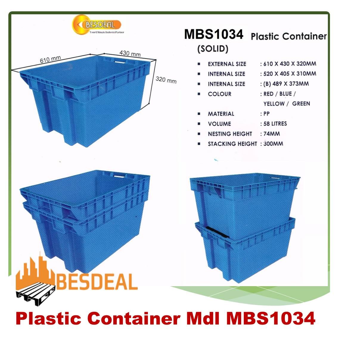 Plastic Container Mdl MBS1034H For Sales Now!!
