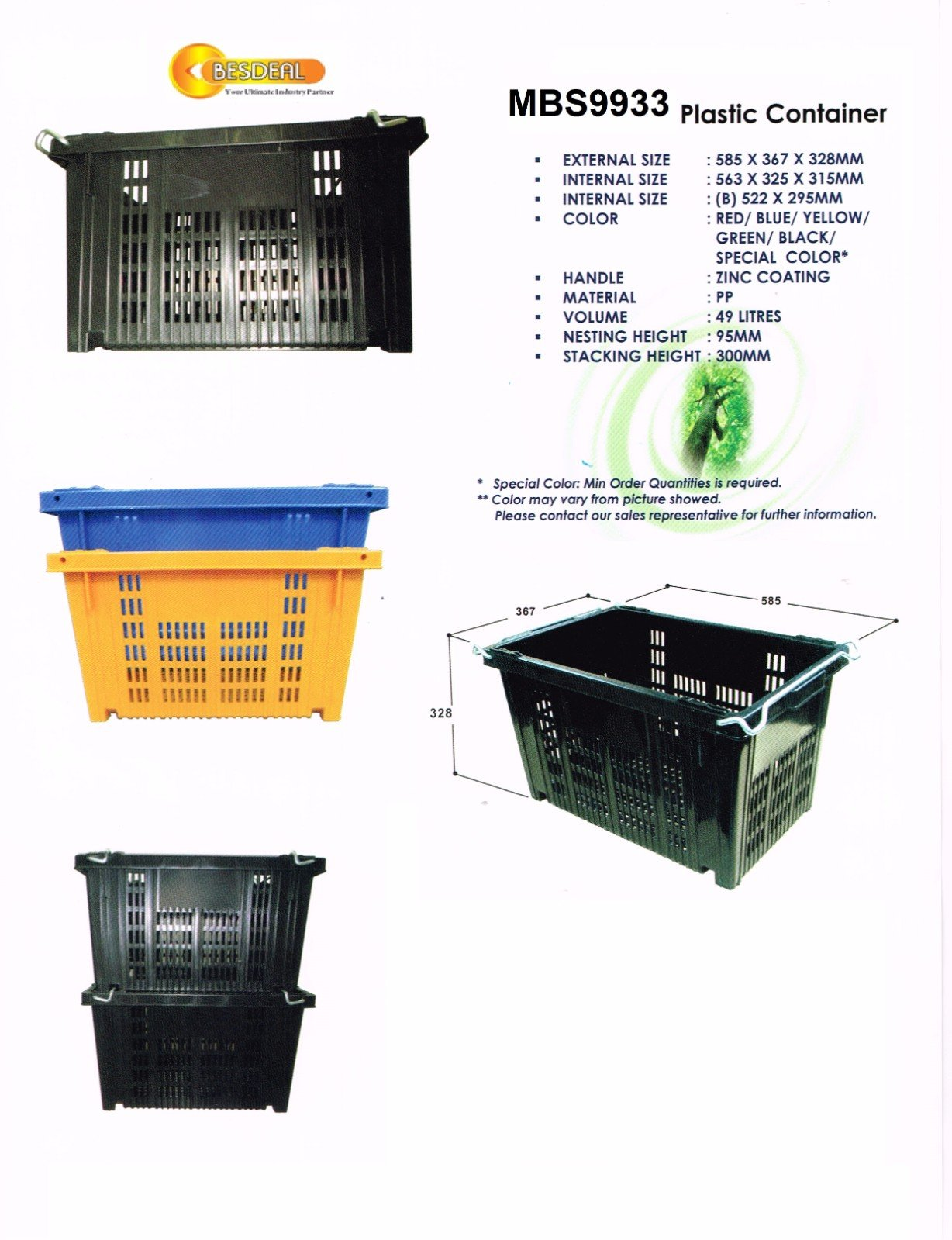 Plastic Container Mdl MBS9933 on Sales Now!!