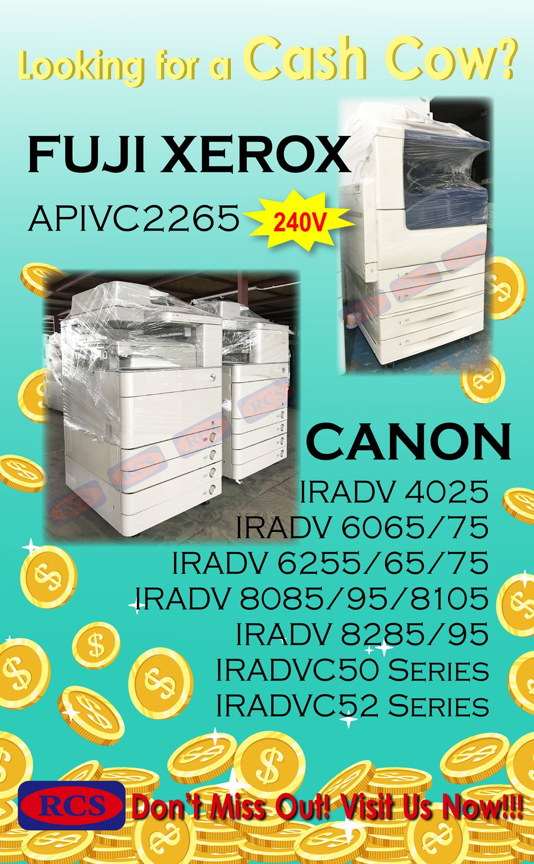 CASH COWS OF YOUR BUSINESS!! CANON/FUJI XEROX/RICOH/MINOLTA RECONDITIONED COPIER WHOLESALE