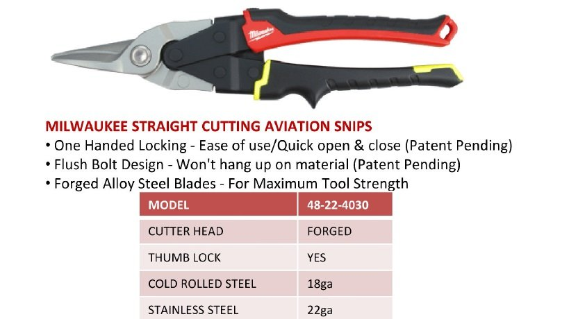 48-22-4030 Straight Cutting Aviation Snips