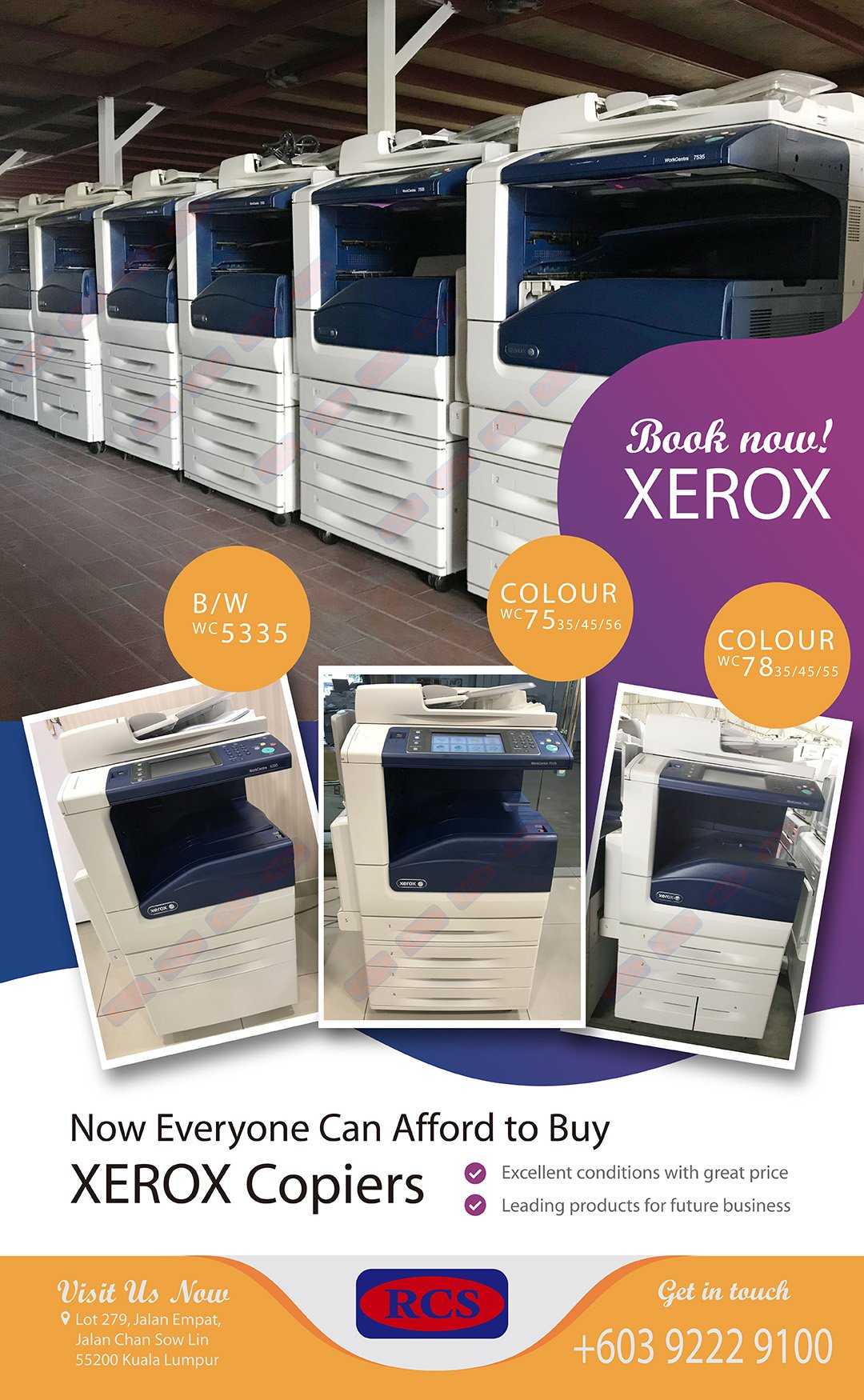 XEROX WC5335 WC7535/56 WC7835/55! CANON/RICOH/KONICA MINOLTA RECONDITIONED COPIER WHOLESALE