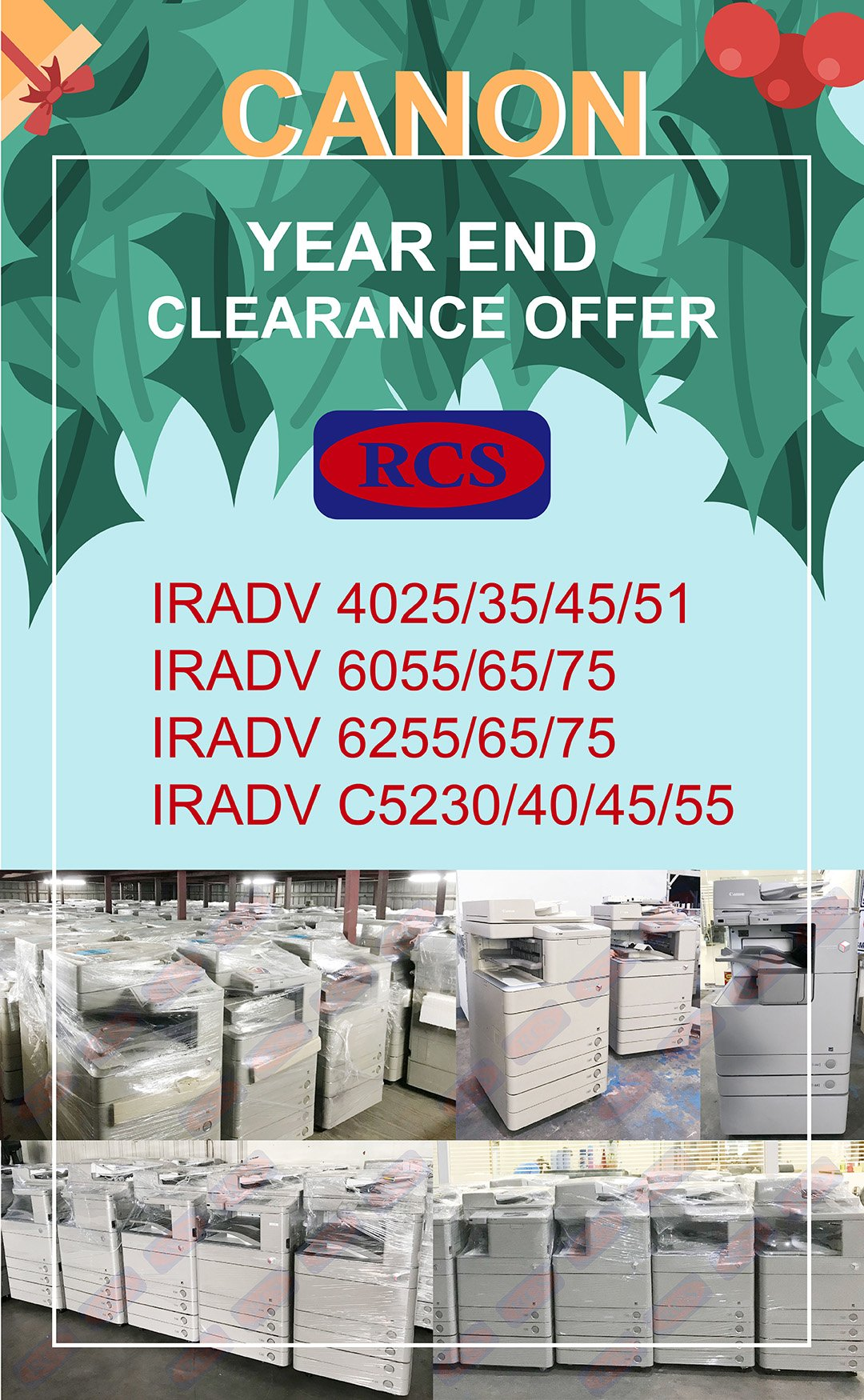 CANON YEAR END CLEARANCE OFFER! FUJI XEROX/RICOH/KONICA MINOLTA RECONDITIONED COPIER WHOLESALE