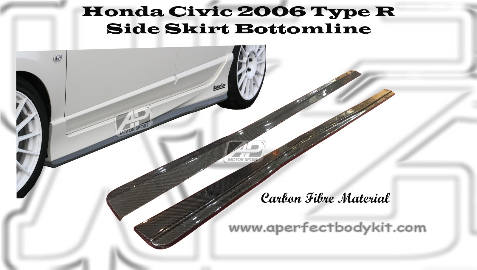 Honda Civic 2006 Type R Side Skirt Bottomline (Carbon Fibre/
