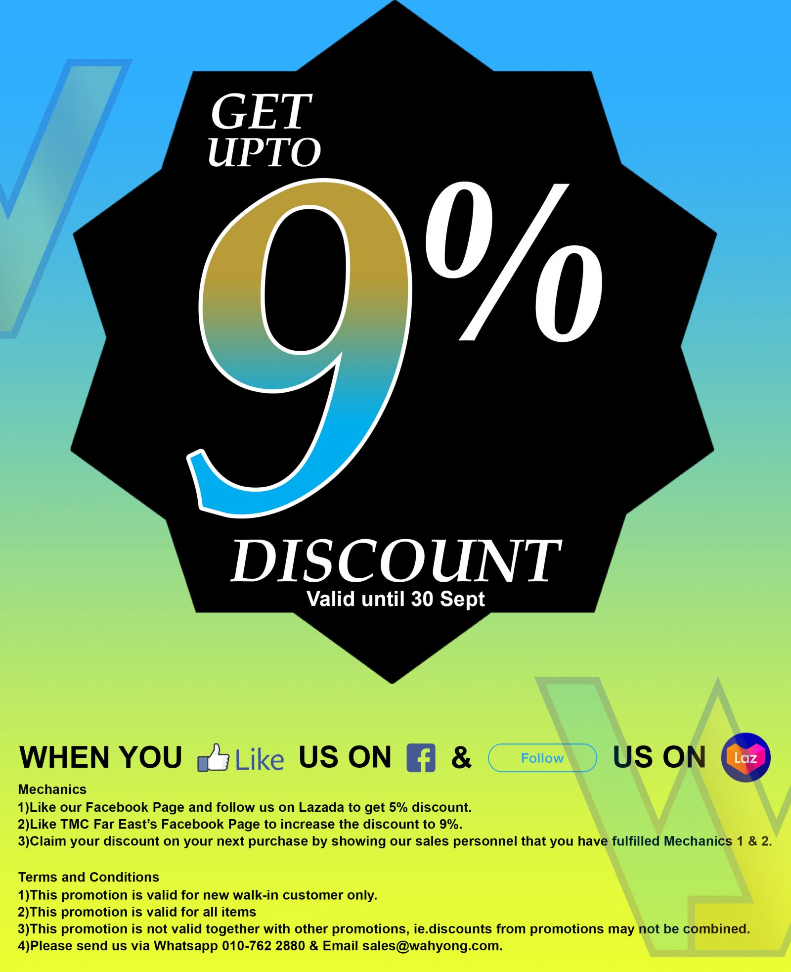 Get up to 9% Discount for all items